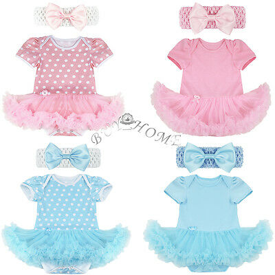 Infant Baby Girl Polka Dot Dress Outfit Tutu Skirt Cotton Romper + Headband Set