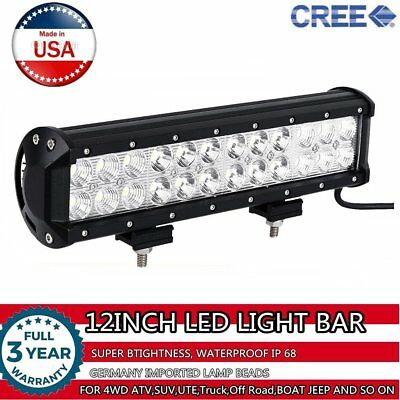 12inch 72w Cree LED Flood Spot Work Light Bar Offroad Boat SUV 4WD Driving Truck