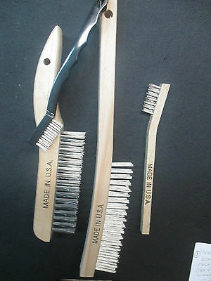 1-Weiler Wooden/plastic Handle Stainless Steel Usa Made 4-Piece Brush Set New