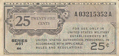 United States USA military payment certificate 25 cents (1941) series 461 P-M3