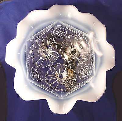 """Antique Opalescent Glass Bowl, Northwood """"Ruffles & Rings"""", White & Crystal"""