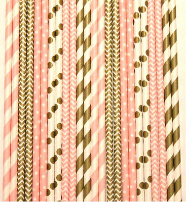 High Quality 25 Gold and Pink Mix Paper Straws birthday party weddings A-3
