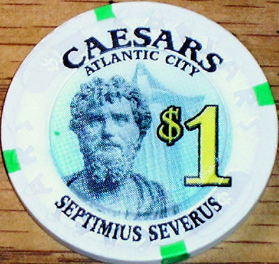 Old $1 CAESARS Casino Poker Chip Vintage House Mold Atlantic City NJ