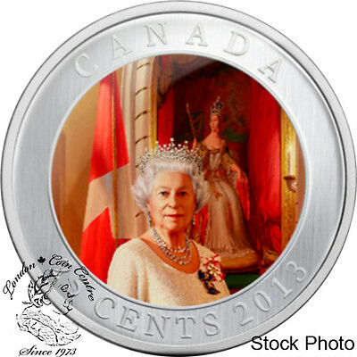 Canada 2013 25 Cent Her Majesty Queen Elizabeth II Coronation Coloured Coin