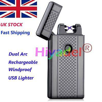 Dual Arc Electric USB Lighter Rechargeable Windproof Flameless Cigarette UK SE3