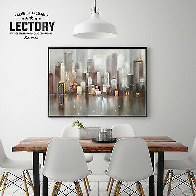 Hand-Painted Oil Painting - Rainy City | Modern Abstract Decor Unframed Wall Art