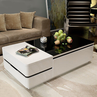 BN Modern High Gloss White Coffee Table with Drawers Black Glass Top Living Room
