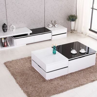 Modern High Gloss White Coffee Table TV Stand Set w/ Walnut Drawers Living Room