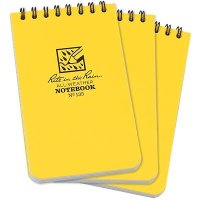"Rite in the Rain All-Weather Top Spiral Notebook, 3"" x 5"", Yellow Cover, 3 Pack"