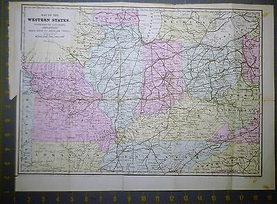 Western States Indian Territory Antique Map Printed 1867 14x19