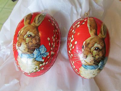 Vintage Red Easter Rabbit Paper Mache Easter Egg Container Ornament Lot Set