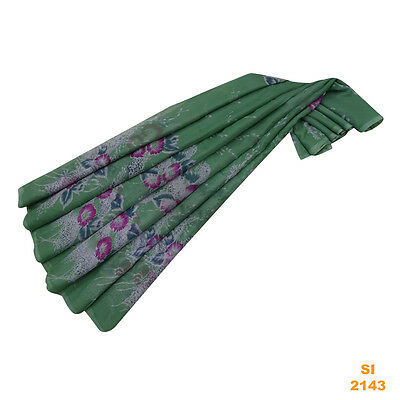 Vintage Indian Sari Green Craft Sarong Floral Wrap Art Decor Saree Veil Si2143
