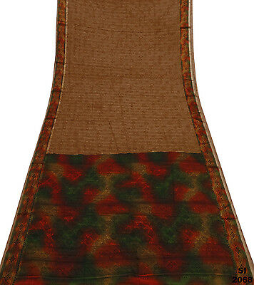 Vintage Indian Sari Brown Silk Blend Fabric Decor Floral Craft Drape Veil Si2068