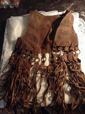 Vintage 1940'S California Biker Rare Fringe Leather Vest Size Small