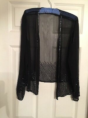 ADRIANNA PAPELL Occasions Black Beaded Jacket & Skirt  Size 16