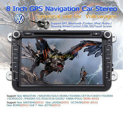 Canbus 8'' 2Din Car DVD GPS Stereo LCD Monitor For VW Skoda Octavia 2009-2012