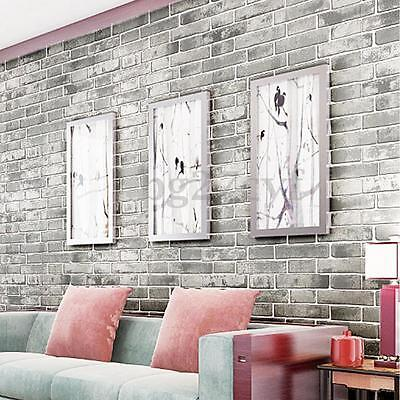 3D Vintage Bricks Stone Self Adhesive Wallpaper Roll Decal Home Decor 60cmx5M AU