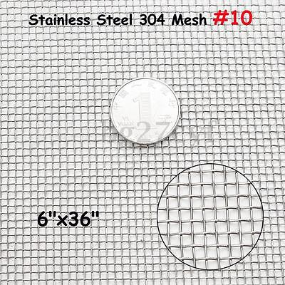 Stainless Steel 304 Mesh #10 .025 Wire Cloth Screen 6''x36''