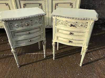 Pair Of French, Antique, Vintage, Shabby Bedside Tables