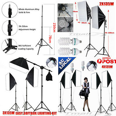 NEW-Photo Studio Lamp Softbox Continuous Video Lighting Light Boom Arm Stand Kit