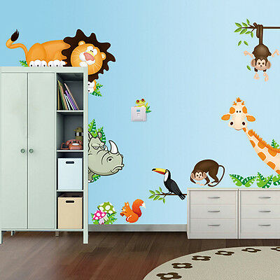 Jungle Animal Lion Wall Stickers Kids Art Home Room Decor Mural Decal Nursery