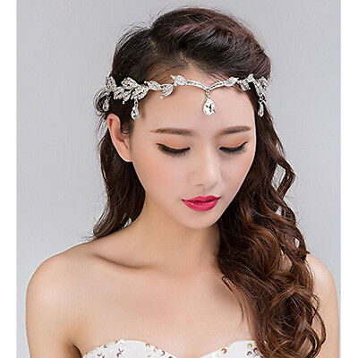 Chic Crystal Leaf Frontlet Tiara Hair Bands Wedding Bridal Headband Headdress