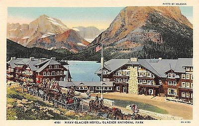 Postcard MT Glacier National Park Many Glacier Hotel Men Cowboys Horses Vintage