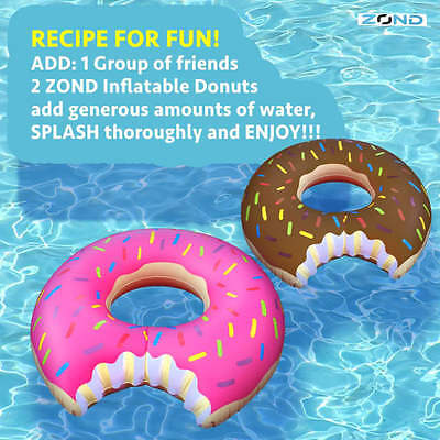 2 Piece SET of Gigantic 4ft Donut Pool Beach Floats Chocolate and Strawberry