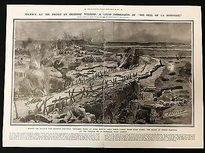 1915 Original 2-Page Newspaper Illustration, Fighting at La Boisselle, WW1