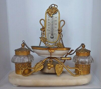 Antique French inkwell with thermometer,ring,Baccarat bottles; Calamaio francese