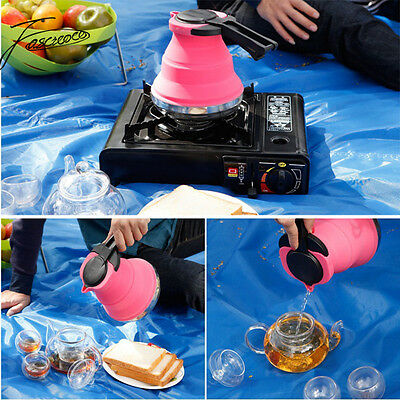 1.5L Collapsible Kettle Camping Silicone Folding Pop-Up Gas Stove Hob Water Pot