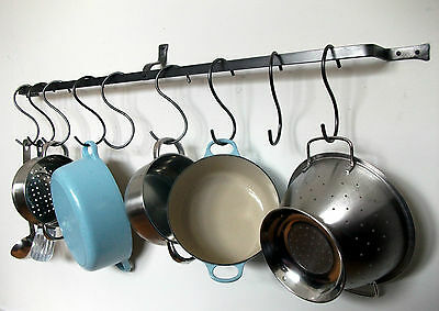 Long Hanging pot rack / pan kitchen iron wall mounted bespoke saucepan s hook