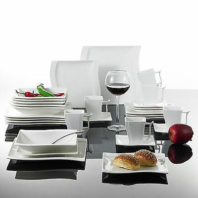 30PCS Square Ceramic Dinner Kitchen Service Dinnerware Plates Cup Complete Set