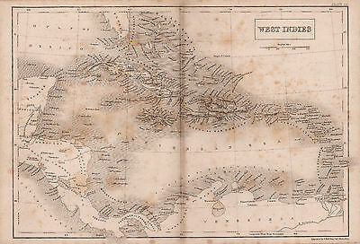 Map of West Indies  1842  Original Antique Print   ref B3