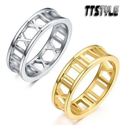 TTstyle 6mm Width Roma Number Stainless Steel Band Ring Silver/Gold NEW