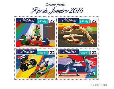 Maldives 2016 MNH Summer Games Rio 2016 4v M/S Fencing Cycling Olympics Stamps
