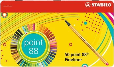 50 x STABILO POINT 88 FINELINER POINT 88 SORTIERT IM METALLETUI 8850-6 TOP !!!