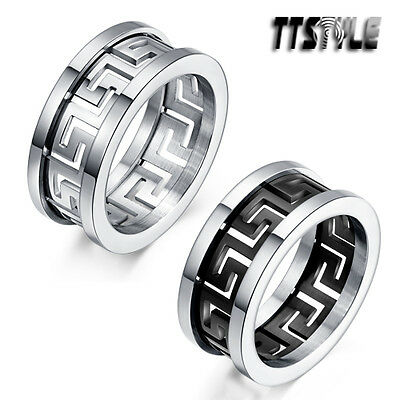 TTstyle 10mm Width Greek Key Stainless Steel Band Ring Silver/Black NEW
