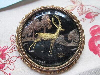Antique Art Deco pin Brooch/Stag -tree-singned.J.E.A./Glass/brass /