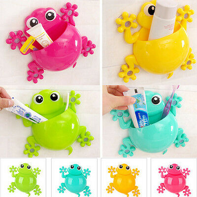 DIY Frog Wall Tooth Brush Cup Toothpaste Holder Hanger Home Bath Tool Organizer