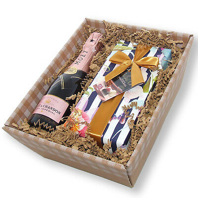Mini Moet Rose Champagne and Chocolates Tray