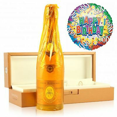 Louis Roederer Cristal Champagne and Happy Birthday Balloon