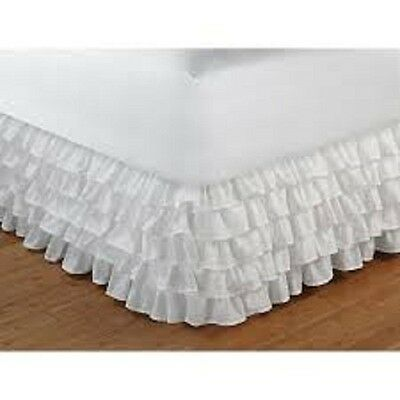 Super 1Qty Multi Ruffle Bed Skirt Egyptian Cotton Drop 35 Cm White Solid