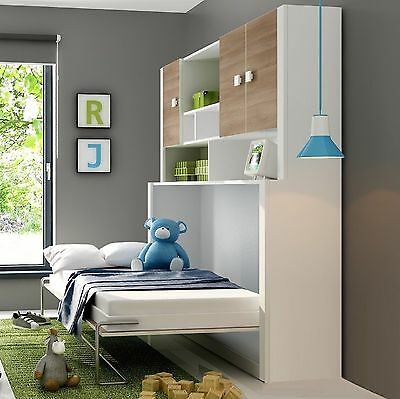 Single Wall Bed with Cupboard and Mattress, Space Saving Bed, Murphy Bed