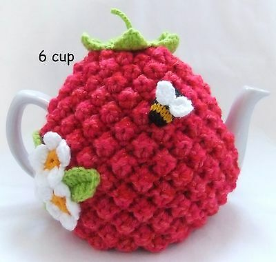 Hand-knitted-crochet- 6 cup Raspberry Tea Cosy