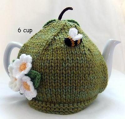 Hand-knitted-crochet 6 cup Russet Green Apple Tea Cosy