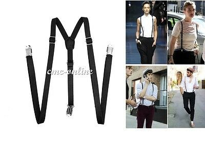 Unisex Stylish Vintage Clip-on Suspenders Y-Back Braces Faux Leather Braces