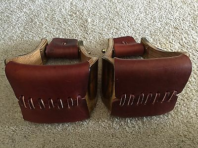 "3"" MONEL (BRASS) BELL STIRRUPS w WEAR LEATHERS TREAD & NECK - USA  & EXCELLENT!!"