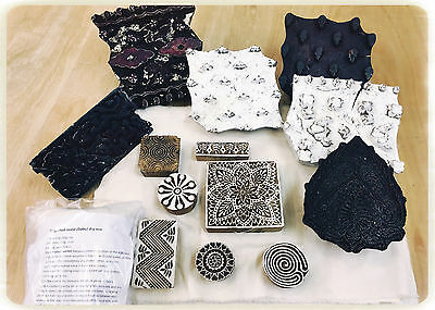 Dabu printing kit indian vintage wooden blocks mud resist textile Stamp