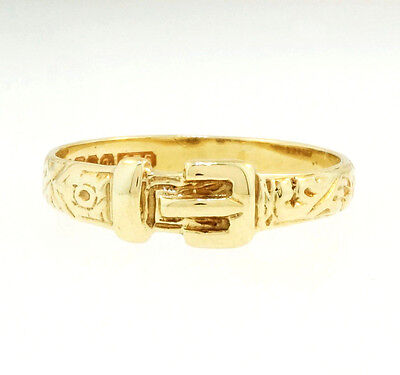 Vintage 9Carat Yellow Gold Buckle Ring (Size L) 4mm Width